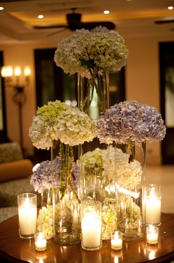 Tall hydrangea centerpieces tree guest books