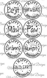 7 FUNNY SCOTTISH birthday digi stamp set  Circle sentiment stamps  Eejit  Bawbag  Maw  Paw  Granny  Numpty  Old Fart  on Craftsuprint - View Now!