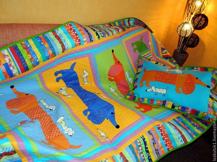 Купить детское покрывало пэчворк ТАКСЫ 4 детский лоскутный плед - детское покрывало пэчворк