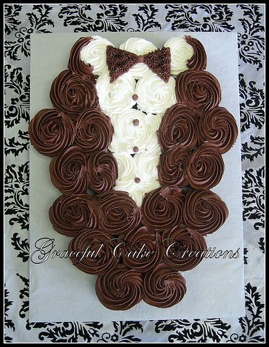Bridal Shower Cupcake Tuxedo How cute to go along w the brides dress cupcake ;)