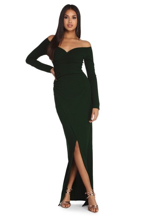 208ee66b7d93e Dianna embodies beauty with a coy, off the shoulder neckline, long narrow  sleeves, a wrap design with ruched detailing down the right seam and a  floor ...
