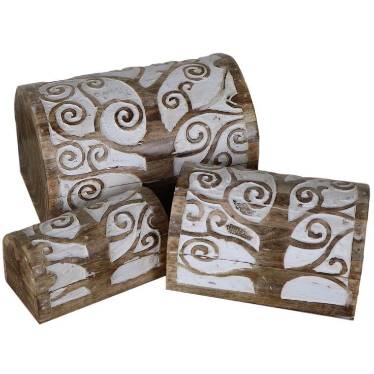 Tree of Life Wooden Chest - Set of 3