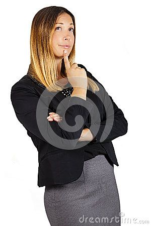 Doubt Thinking Female Decision Success Expression. Woman With Finger On Lips - Download From Over 45 Million High Quality Stock Photos, Images, Vectors. Sign up for FREE today. Image: 60186097