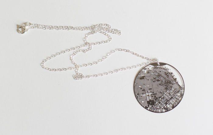 San Francisco Map Necklace- Silver
