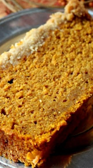 Pumpkin Bread Recipe ~ It is to die for... It's moist and dense--works better to eat it with a fork because it's so moist it hardly stays together. You need to make this bread!