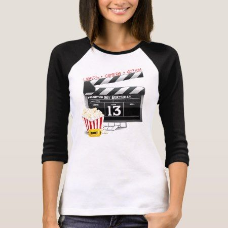 13th Birthday Movie Party T-Shirt - click/tap to personalize and buy