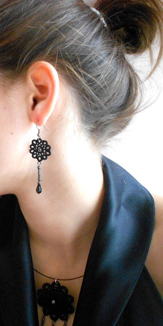 Black floral lace earrings, tatted - Sleeping Beauty collection via Etsy