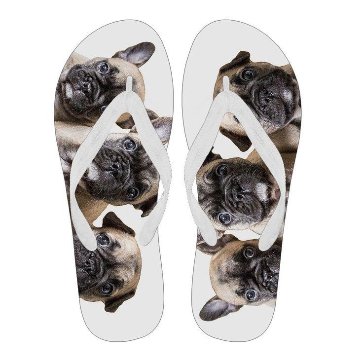 Women's French Bulldog Puppies Flip Flops