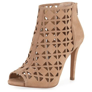 "Ivy laser-cut open-toe bootie by MICHAEL Michael Kors. MICHAEL Michael Kors laser-cut suede bootie. 4"" covered heel. Open toe. Back zip eases dress. Padded footbed. Rubber ..."