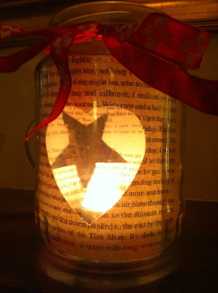 Another creation #coffee jar pages from a book cutout heart and star with a ribbon to finish