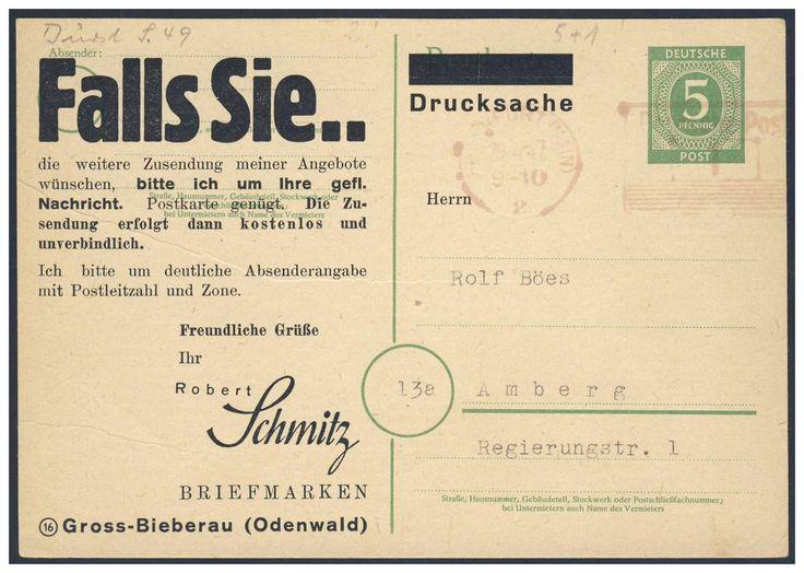 German Local Issue, Deutsche Lokalausgaben 1947, Frankfurt am Main, 1 Pfg.-Freistempel (rot) auf 5 Pfg.-Ziffern-GA-Postkarte, als Drucksache, vom Briefmarkenhandel Robert Schmitz/ Groß-Bieberau, nach Amberg gelaufen. Price Estimate (8/2016): 40 EUR.