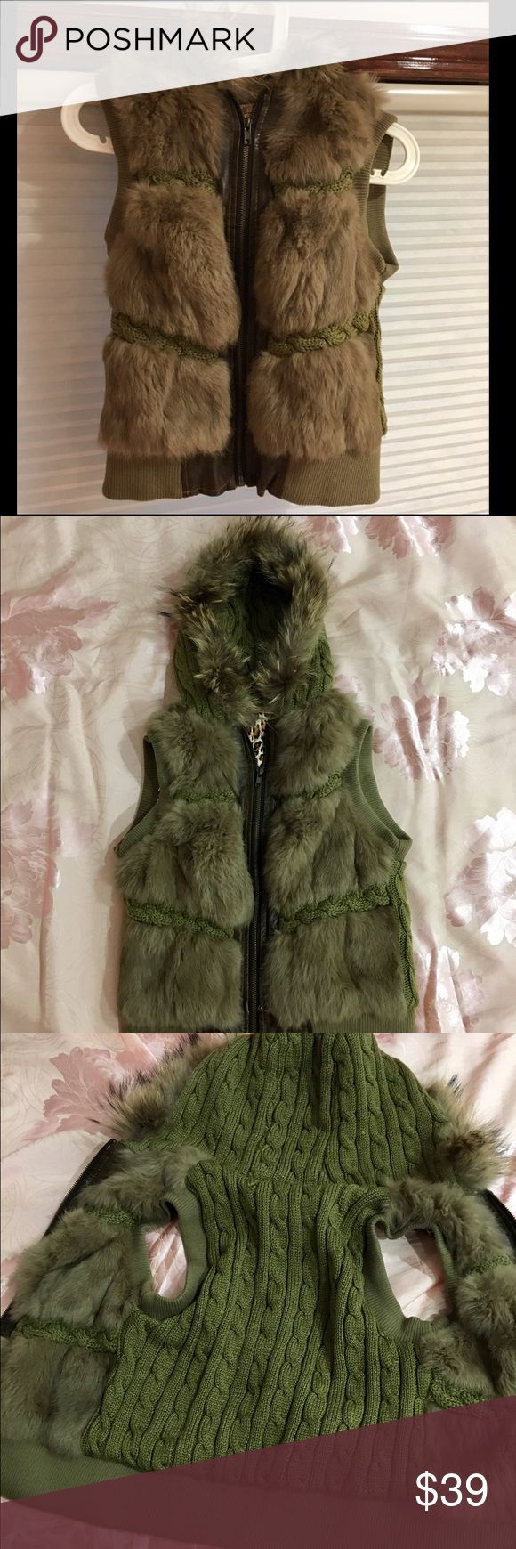 Rabbit Fur Vest Color: Khaki olive green  Material: rabbit hair, Sweater, polyester Size: XS petite fit, XS little cropped fit for non-petite women Korean brand. Worn once. Jackets & Coats Vests