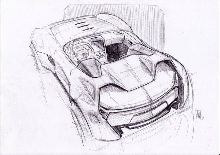 brilliant high 3/4 concept car sketch