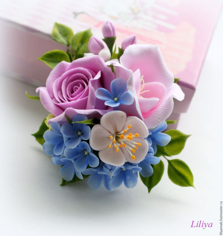 """Купить Брошь-зажим """" Настроение нового дня-4"""" - бледно-розовый"""