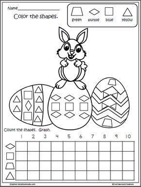 Free Easter Math Shapes Graph For Kindergarten Jump Start Easter