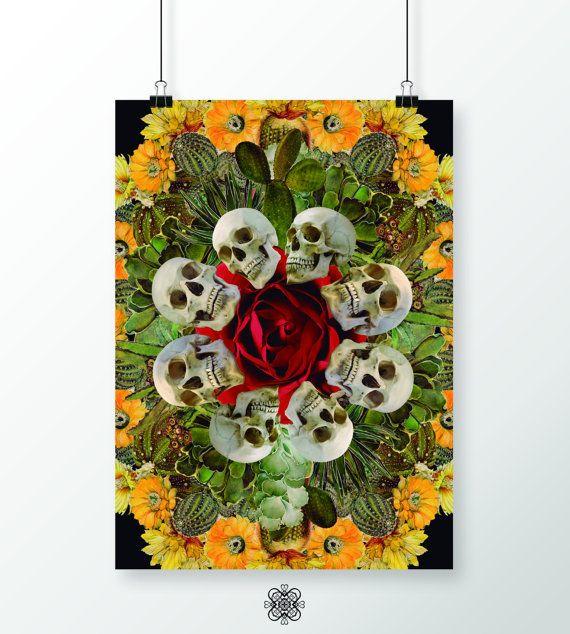 Poster 50x71 cm Western Skulls Instant download por LehaimDesign
