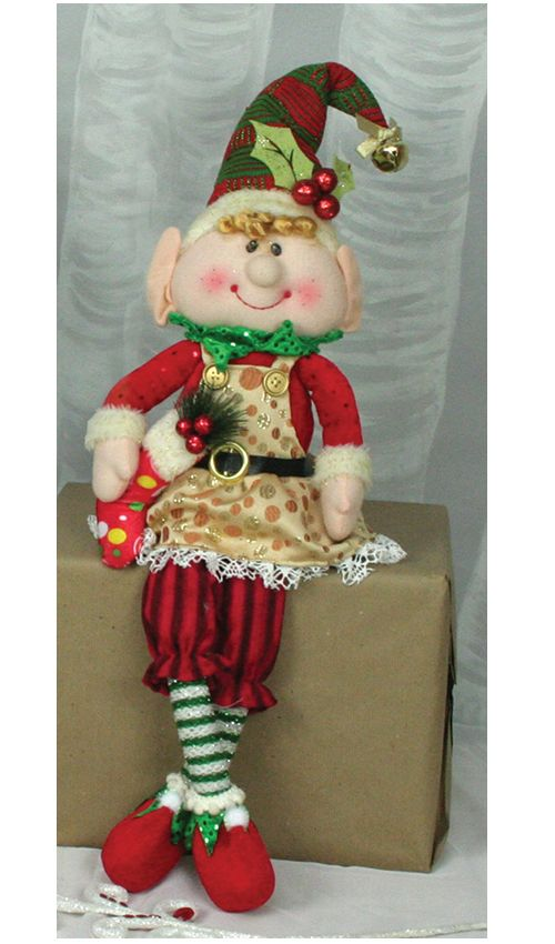 "Hanna's Handiworks Christmas Merry Plush Dangle-Leg Elf Girl - 21"" $18.95"