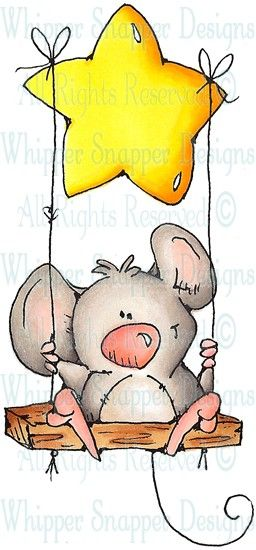 Hanging by a Star - Mice - Animals - Rubber Stamps - Shop
