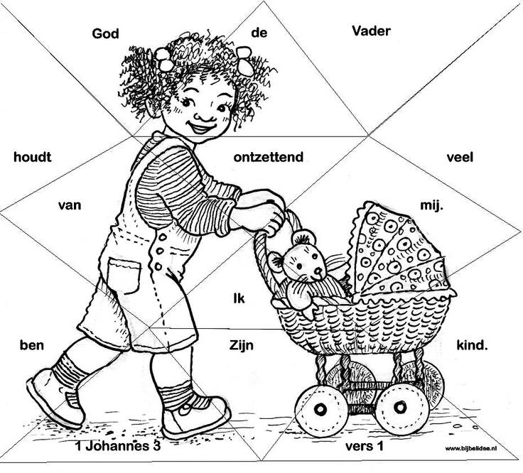 puzzel en kleurplaat:  God de Vader houdt ontzettend veel van mij, ik ben zijn kind, 1 Johannes 3:1  www.bijbelidee.nl