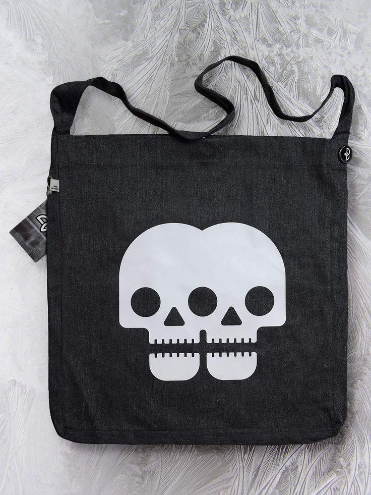 Double skull sling tote bag by Paranoia Borealis.