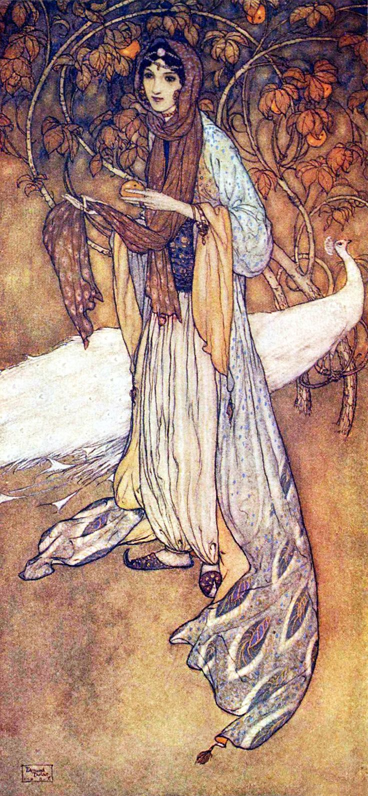 """Princess Scheherazadè, the heroine of the thousand-and-one nights. """"Stories from the Arabian Nights"""" (1907) illustrated by Edmund Dulac"""