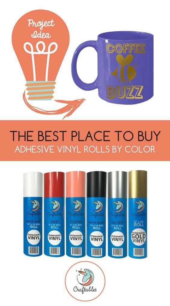 Adhesive Vinyl Rolls For Cricut Permanent Vinyl 12in X 10ft By Craftables Adhesive Vinyl Cricut Stencil Vinyl Stencil Vinyl