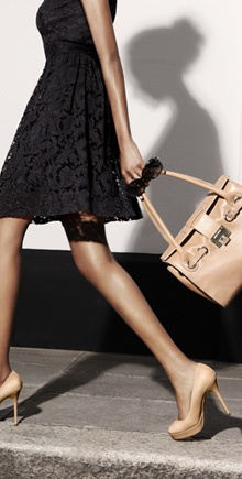 love the shoes + bag, can wear them separately or together... And they also look great with the black dress in this photo!
