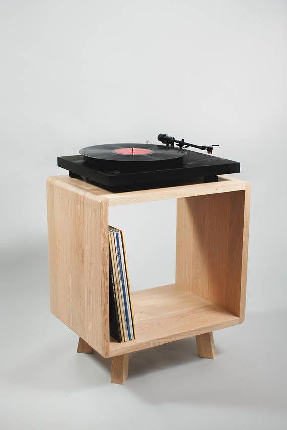 Solid Oak Record Player Cabinet Vintage Retro