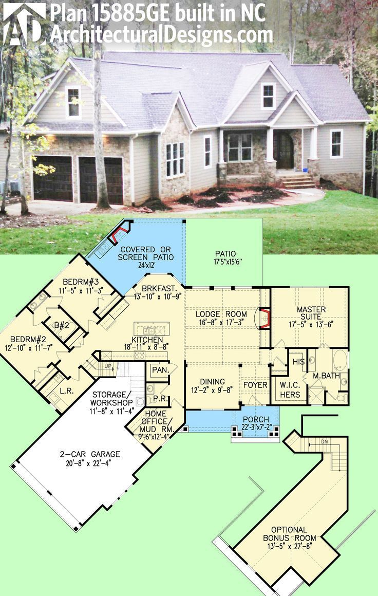 Architectural designs craftsman house plan 15885ge client built in north carolina 2000 sq