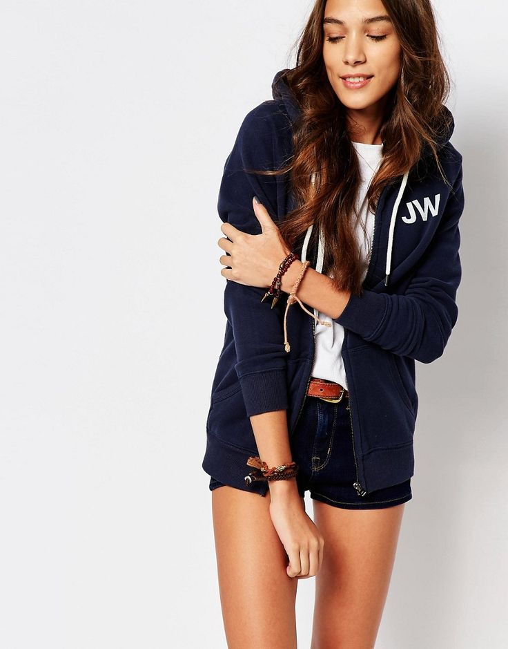 Jack+Wills+Classic+Zip+Through+Hoodie+With+Front+Logo