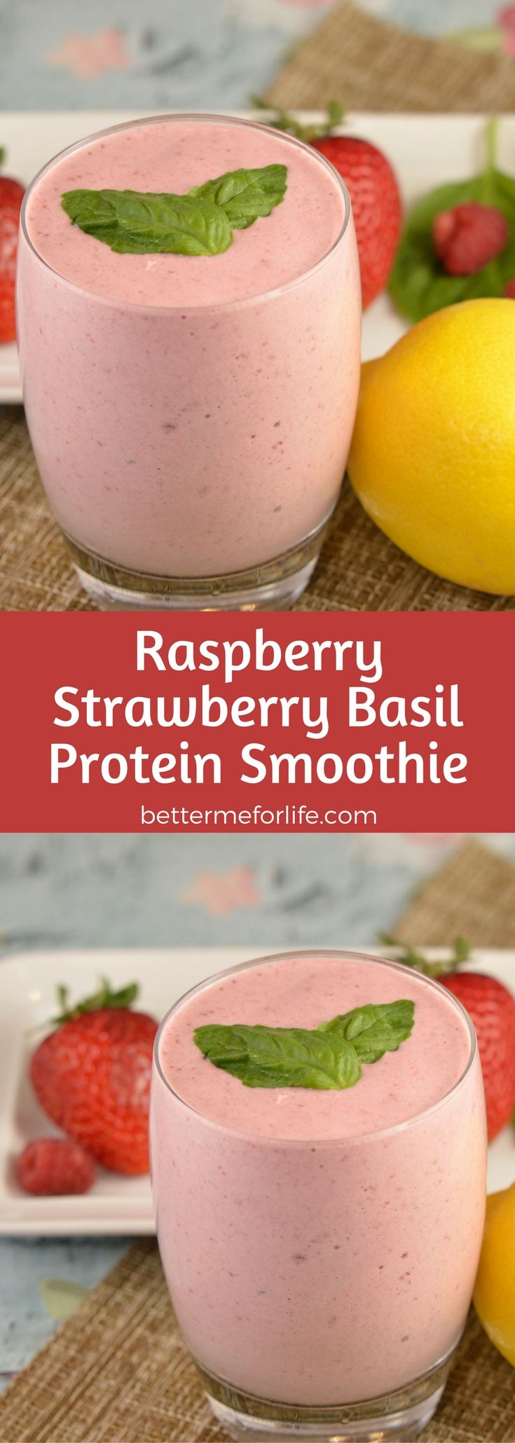The flavors of summer are in this raspberry strawberry basil protein smoothie. Packed with antioxidant and anti-inflammatory nutrients the is a summer must-have! Recipe at BetterMeforLife.com | protein smoothie recipes | protein smoothies | healthy protein smoothies | protein smoothies for weight loss | protein smoothie recipes | protein smoothie recipes weight loss | protein smoothie recipes diet #proteinsmoothies #proteinsmoothierecipes #proteinpowder #proteinsmoothie #protein_smoothie