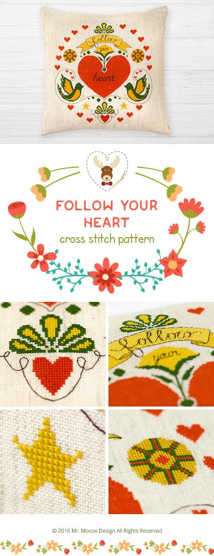 Cross stitch pattern for 4.99$- Follow your heart - instant download PDF - #motivational, #inspirational, #quote, #saying, #pillow, #valentine, #love #followyourheart #quotation #typography #easy