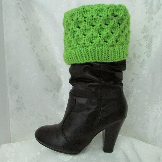Lime green boot cuffs, leg warmers, leg protectors, boot accessory, winter leg bands, leg wrap, boot decoration, adult teen boot cuff