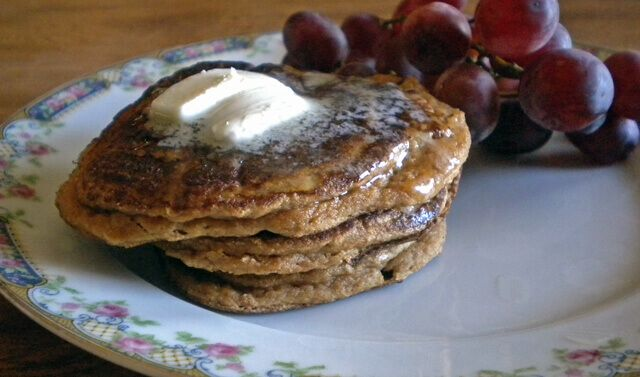 Delicious grain-free, coconut flour pancakes made with coconut flour and eggs for a healthy and filling breakfast idea.