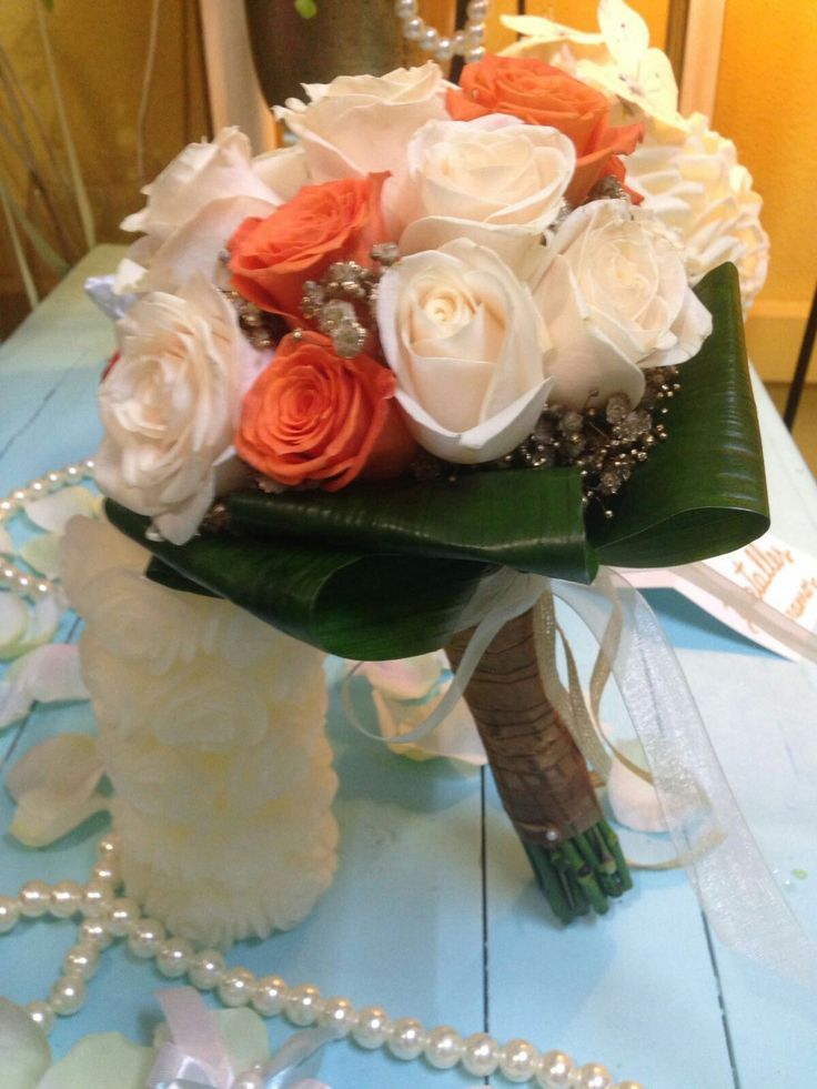 Wedding bouquet gold and orange rose