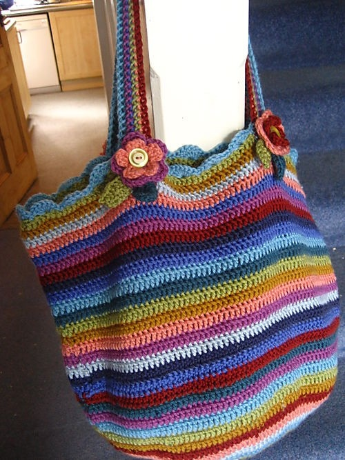 Crochet stripe bag from attic 24 free EASY instructions and tutorial.