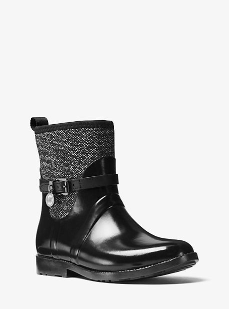 Tweed And Rubber Rain Boot
