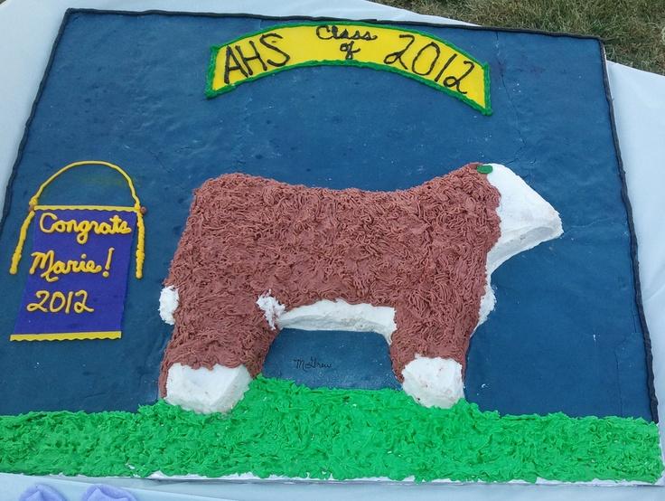 "Hereford heifer ""backdrop"" cake for @Marie Lock's graduation!  #hereford #cake #hereford cattle"