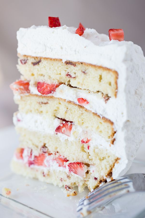 "Strawberries 'n Cream ""Cloud"" Cake with Chambord-Infused Vanilla-Butter Cake, Fresh Strawberries, and Vanilla-Bean Whipped Cream"