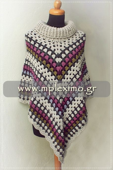 the cowl neck crochet poncho