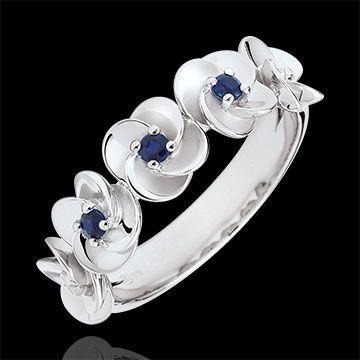 joaillerie Bague Eclosion - Couronne de Roses - or blanc et saphirs - 18 carats