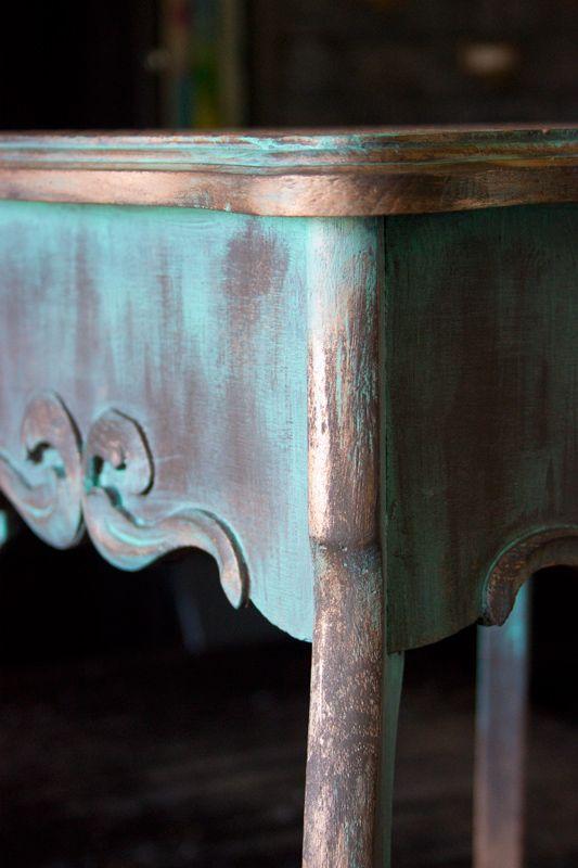 18 Create-an-Aged-Copper-Finish-Oak-Table-Corner-Details-I