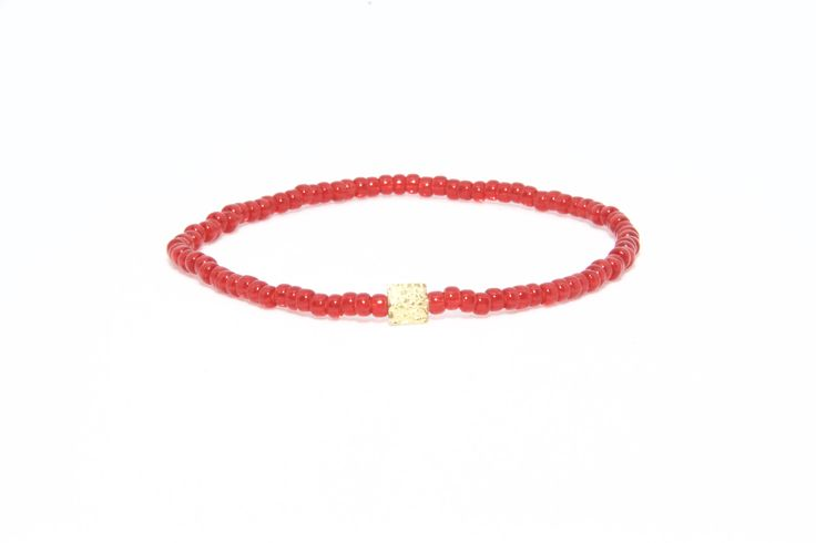 18K Solid Yellow Gold Beaded Bracelet Red Beads - Men's & Women's Stylish & Unique Bracelets