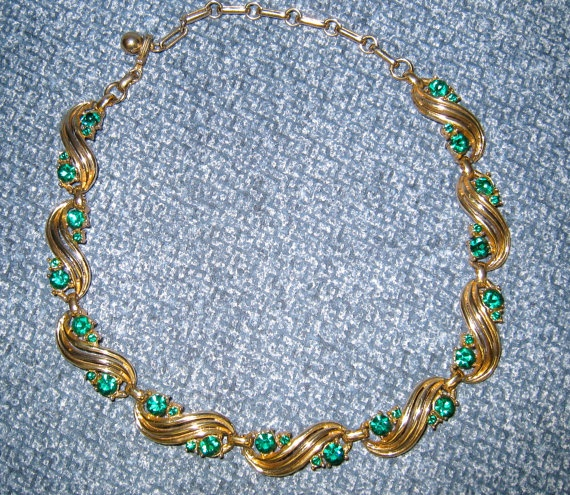 Coro Necklace Vintage Costume Jewelry Green Rhinestones by HerMaj, $21.99
