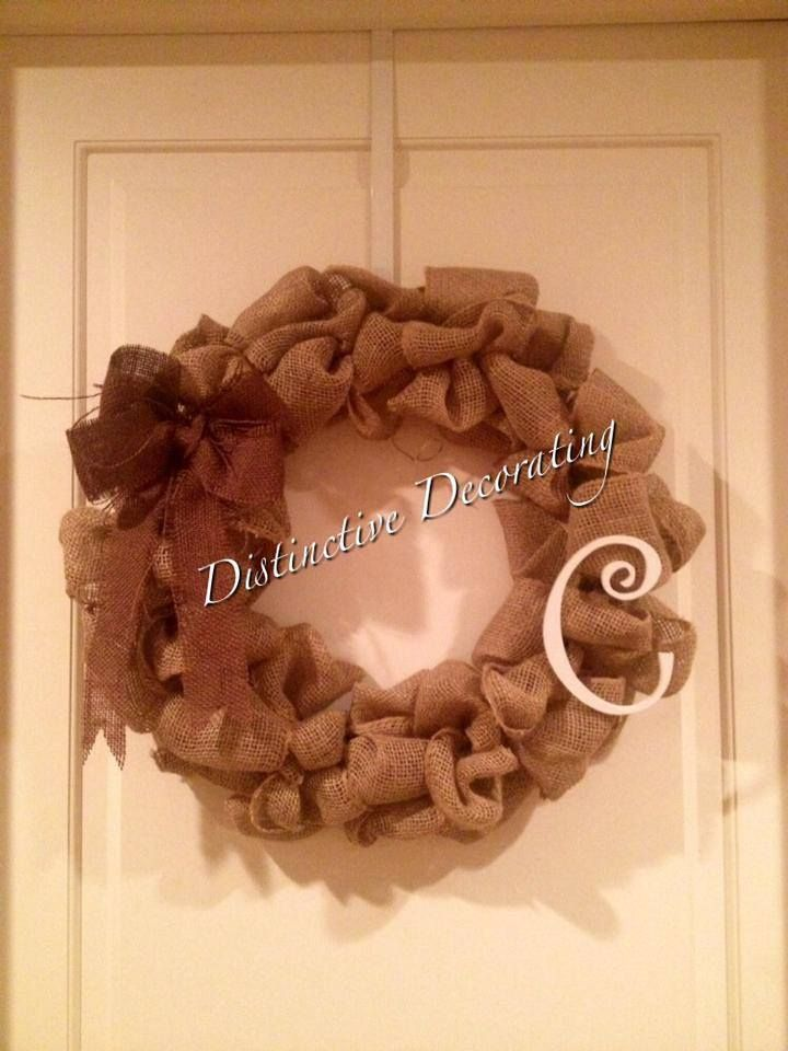 burlap wreath with wooden letter