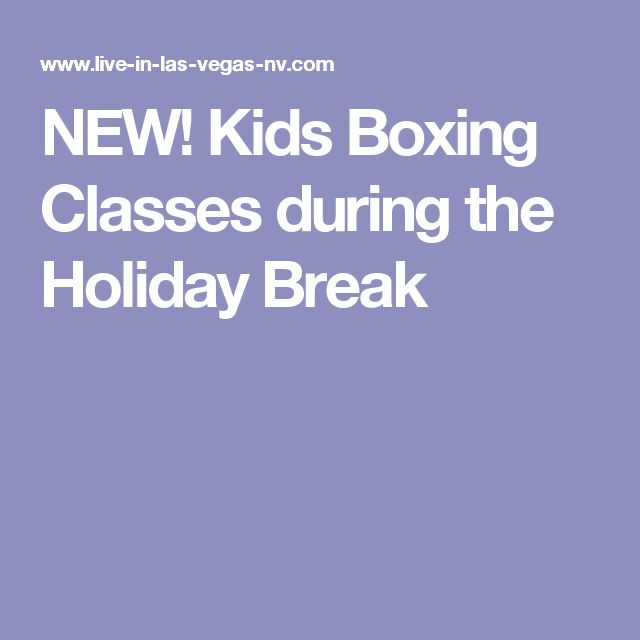 NEW! Kids Boxing Classes during the Holiday Break