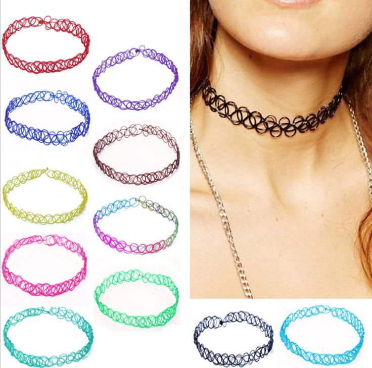 Vintage Stretch Tattoo Choker Necklace Punk Retro Gothic Elastic Pendants Necklaces Free Just Pay Shipping