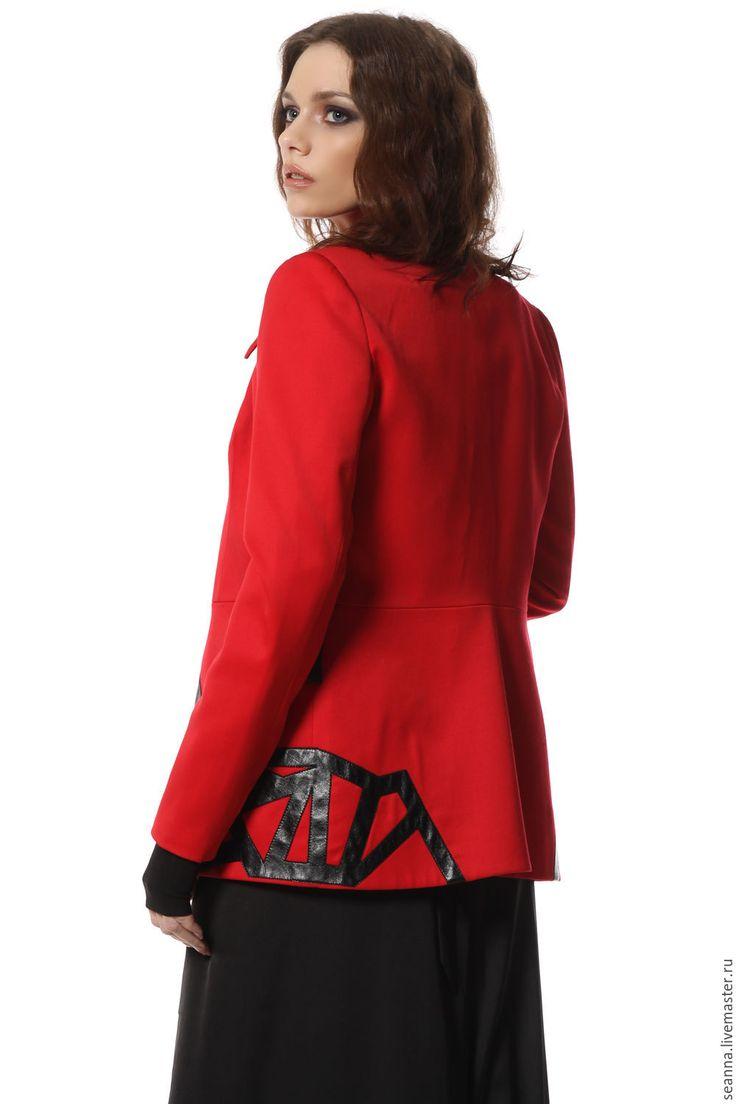 Купить Роскошный костюм Fashion Police из шерсти стрейч с натуральной кожей - ярко-красный