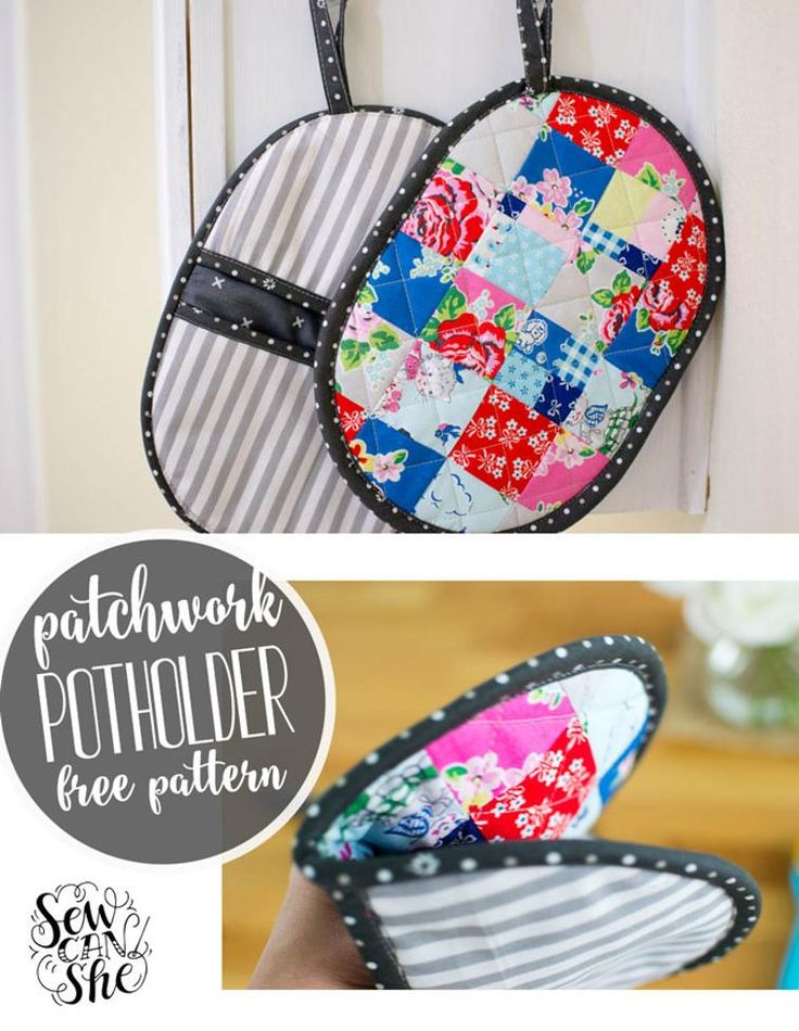 Free Sewing Pattern: Patchwork Potholders