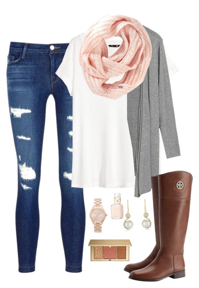 """""""Yay California heat wave! (Wishing for it to cool down a bit)"""" by heather-n ❤ liked on Polyvore featuring J Brand, H&M, Title Nine, Tory Burch, Estée Lauder, Michael Kors, Essie and Effy Jewelry"""